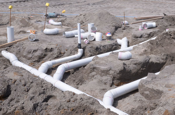 New build sewer pipe installation